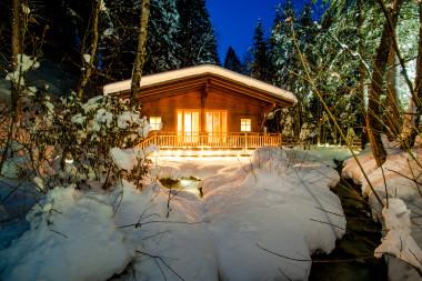 Die winterliche Waldsauna des Biohotel der daberer im Wald hinter dem Hotel (Dab-0683) | Foto: Biohotel der daberer