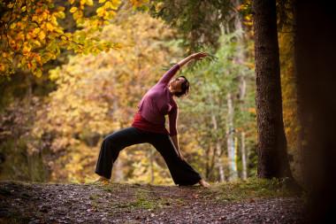 Yoga im herbstlichen Wald hinter dem Biohotel der daberer (Dab-1577) | Foto: der daberer. das biohotel/F. Neumüller