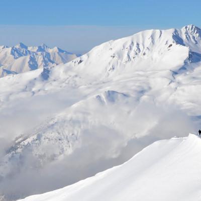 Skitourengeher in weitem, freiem Gelände im Wipptal